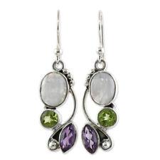 Silver Multi-gemstone Rainbow Moonstone&Peridot Dangle Hook Earrings Jewelry CN