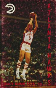 Atlanta Hawks _RARE_ 1975-76 Media Guide/Schedule vtg NBA Basketball Hawkins