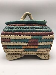 "Straw Basket with Lid Box Woven Teal Blue Rust Burgundy Handle Lidded 8.5"" x 6"""