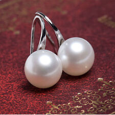2 Colors Delicate White Pearl Womens Drop Earrings Elegance Jewellery 20mm