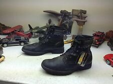 DISTRESSED R.J. COLT BLACK LEATHER LACE UP ENGINEER BOSS BIKER ANKLE BOOTS 13D