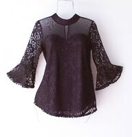 New~Black Lace Blouse Shirt Bell-Sleeve Romantic Boho Top~Size Small S