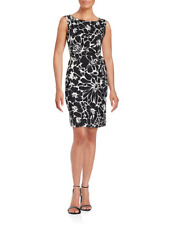 $398 NWT DVF New Della Dahlia Black/White Silk Blend Above-Knee Dress sz 2