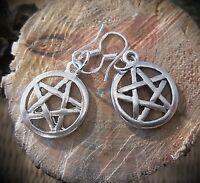 pagan wicca gothic ohrringe mit pentagrammen edelstahl silber 925 haken