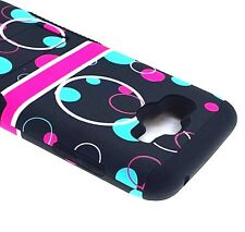 Samsung Galaxy J7 2015 - HYBRID HARD & SOFT ARMOR CASE COVER BLUE PINK BUBBLES
