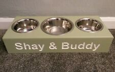 HANDMADE WOODEN PERSONALISED RAISED ELEVATED DOG BOWL STAND 3 BOWLS INCLUDED
