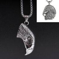 Retro Men Stainless Steel Vintage Eagle Wing Feather Pendant Necklace Jewelry
