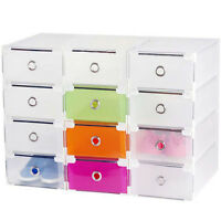 STORAGE SHOE BOXES CLEAR DRAWER Transparent ORGANISERS Stackable Boxes New Hot
