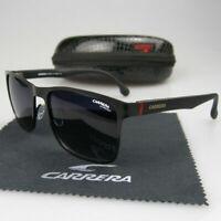 Men Women Retro Sunglasses Matte Black Frame Metal Carrera Glasses With Box LKZ8