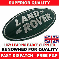 VERDE E ARGENTO LAND ROVER 3D Badge Adesivo-FRONT GRILL BADGE 85mm x 43mm (D91)