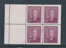 Canada Booklet Pane 286b (BK40) King George VI Postes-Postage MNH