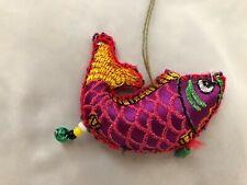 """Multi-Bright 3"""" Fabric Fish wth Dangles Ornament Figurine"""