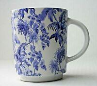 Tommy Bahama Blue Floral Toile Mug Tropical Coffee Cup Fern Palm Tree Hawaiian