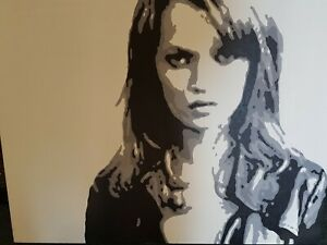 BILL FRANKS ORIGINAL 2005 ACRYLIC ON CANVAS PORTRAIT OF KATE MOSS. COLLECTABLE.