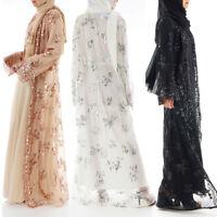 Luxury High Class Sequins Dubai Muslim Women Abayas Jilbab Robe Maxi Cardigan