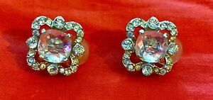 Vintage St John Knits Jewelry silver tone & white crystal clip on earrings