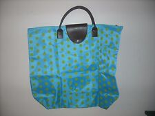 Blue with green polka dots vinyl canvas fold up travel tote bag CUTE!!