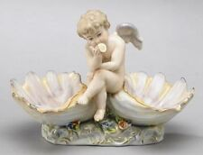 BEAUTIFUL MEISSEN STYLE PORCELAIN WITH ONE CHERUB ANGEL SITTING ON 2 SHELLS