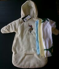 4pc US POLO ASSN SNOW SUIT COAT WINTER CREAM BABY 0-9 M NWT 3 Suit boys girls