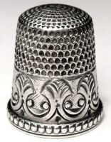 "Antique Simons Brothers Sterling Silver Thimble  ""Smiling Faces""  C1890s"