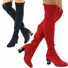 New Fashion Women's Ladies Thigh High Mid Heel Over The Knee Stretch Boots Size