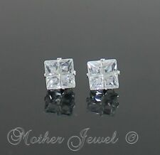 5mm REAL SOLID 925 STERLING SILVER Simulated Diamond Square Unisex Earrings