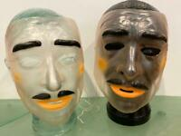 Halloween Cosplay Transparent Face Mask Clear Lot 2 Male Vtg Mustache TWINS Men
