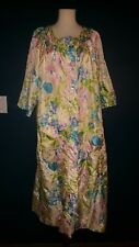 Vtg Floral Button Down House Dress Shiny Fits size Large Polyester Flaw