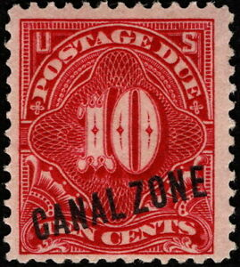 Canal Zone - 1914 - 10 Cents Rose Overprinted Carmine Postage Due # J3 Mint F-VF