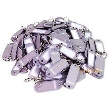 (Lot of 100) Key ID Tags Labels Keychain Split Key Ring Name Tag Grey USA Ship