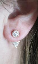 Pave CZ Front Back Ear Jacket Triangle Earrings Rose Gold