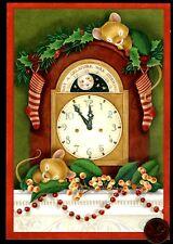 Vintage Christmas Hallmark Mice Sleeping Clock Mantle - Christmas Greeting Card