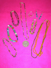 COSTUME JEWELLERY NECKLACES X 2  BRACELET X 4 EARRING RING COLOURED BEADS