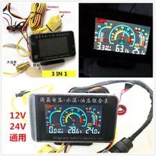 Automotive Car Water Temp Oil Pressure Voltmeter Gauge With Sensors LCD 3 in 1