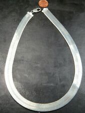 HEAVY VINTAGE STERLING HERRINGBONE LINK NECKLACE CHAIN 20 inch C.1990