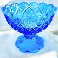 """Vintage Westmoreland Glass Company Blue Opalescent Mini Footed Punch Bowl 5"""" USA"""