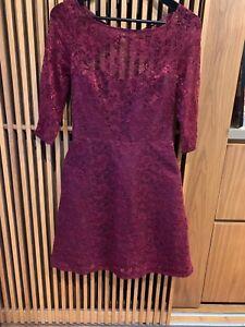 Monique Lhuillier Lace short dress Maroon  BNWT Size 4 RRP U$398
