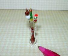"Miniature Susan Weber Fancy Hat Pins in Glass Vase #1 (1 7/16"") DOLLHOUSE 1:12"