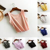 Women Girl Cotton Crop Tops Vest Sleeveless T-shirt Camisole Blouse Shirt Summer