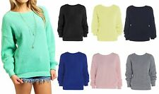 Acrylic Crew Neck Patternless Jumpers & Cardigans for Women
