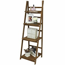 HARTLEYS BROWN 4 TIER FOLDING LADDER STORAGE HOME DISPLAY SHELF BEDROOM/BATHROOM