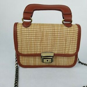 Lucille Woven Straw Mini Top Handle Brown Tote Purse Crossbody Bag Chain Strap