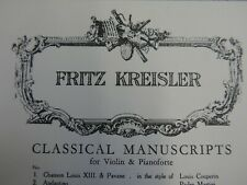 FRITZ KREISLER danse orientale rimsky score for violin & piano , both parts inc.