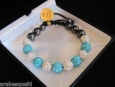GENUINE ARABESQUES Top quality Shamballa Paris crystal bracelet. Aqua/White AJSB