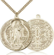 """Saint Benedict Medal For Men - Gold Filled Necklace On 24"""" Chain - 30 Day Mon..."""
