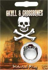 PIRATE GEM RING Skull & Crossbones Jolly Roger Kids Fancy Dress Captain Jack bn