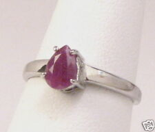 Pure Sterling Silver Pear Ruby Ring Sz 7.25    # RR83