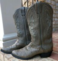 Mens Tony Lama Signature Collection Size 11.5 Gray Hornback Lizard Cowboy Boots