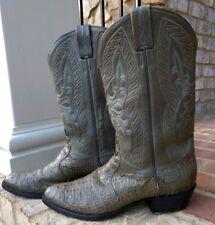 Mens Tony Lama Signature Collection Size 11.5 Gray Hornback Lizard Cowboy Boots
