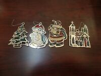 """3"""" Tall Set of 4 Stained Glass Ornaments-Tree, Snowman, Santa Claus,Church #4611"""